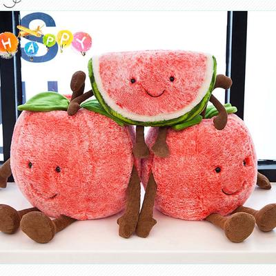 Fruit Simulated Toys,Watermelon Cherry Face Doll Plush Stuffed Soft Toys for Children Educational Present Birthday Gift