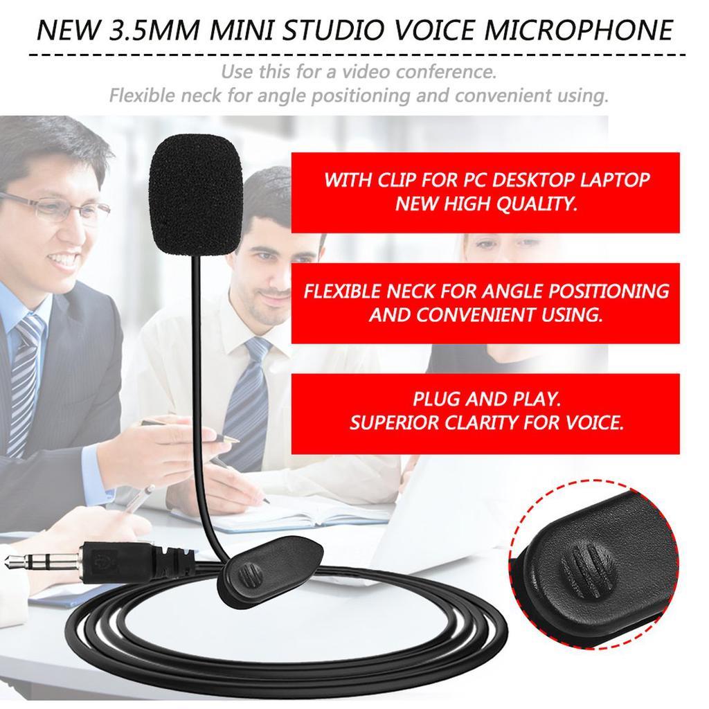 3.5mm Mini Studio Speech Microphone Mic Clips On Lapel for PC Desktop Notebooks