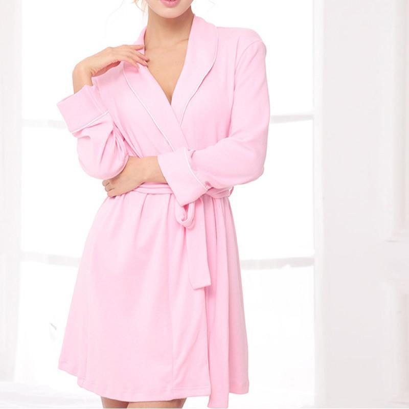 Bata de mujer suave vestir ropa de dormir cada día sólido manga larga bata de noche ropa de casa