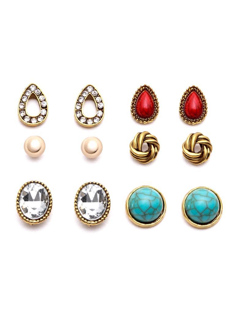 1feecc0d6e SheIn Gold Plated Gemstone Multi Shape Stud Earrings Set-buy at a ...