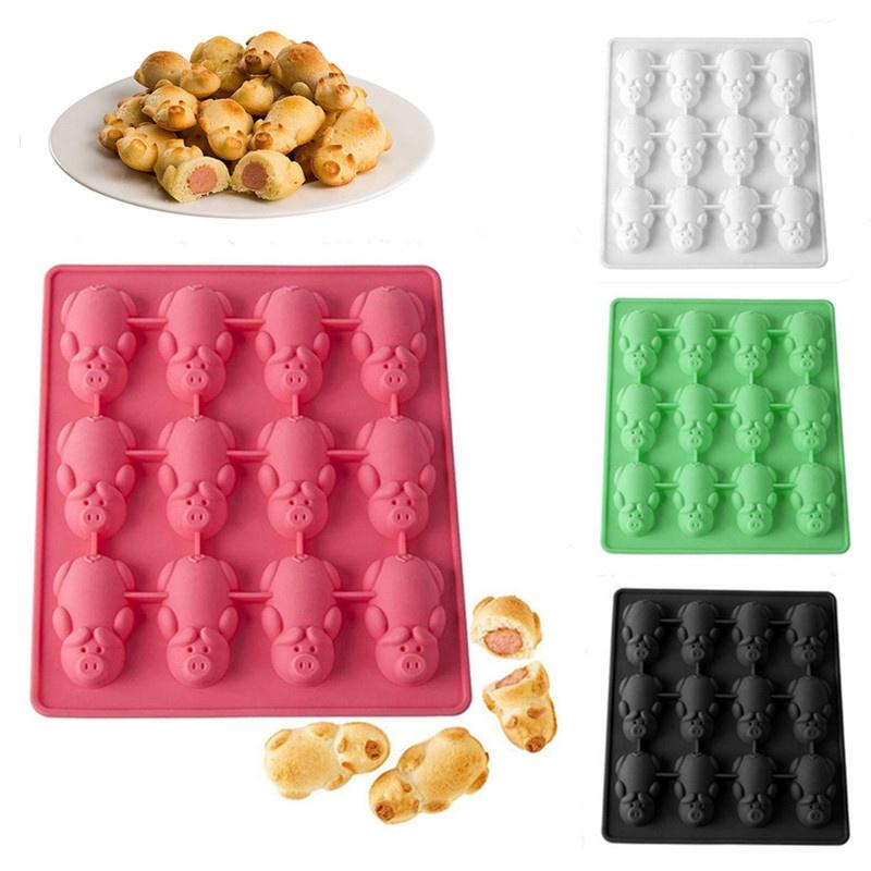 1pcs 12 even pig silicone mold cake chocolate baking tools