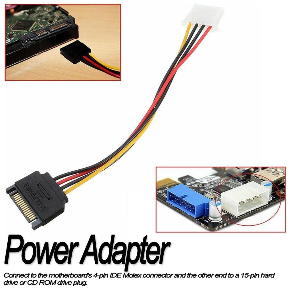 HOT SATA 15-pin Male Power Cable to Molex IDE 4-pin Female Power Drive Adapter