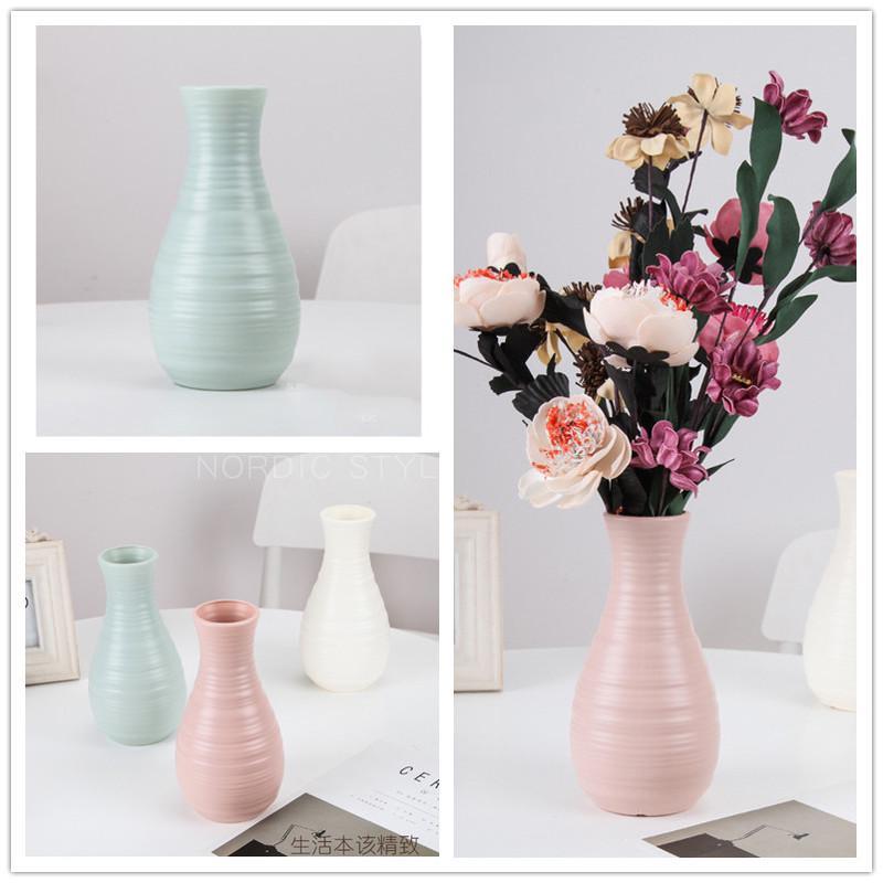White Geometric Plastic Vase Imitation Ceramic Flower Arrangement Container Home