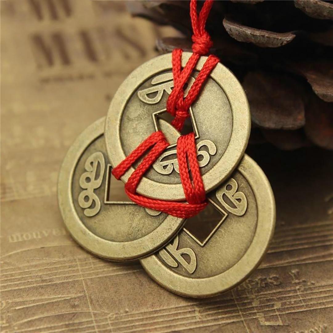 Счастливые монеты Древняя удача Фэн Шуй Кулен Фортуна Деньги Ожерелье Чарм Подарок фото