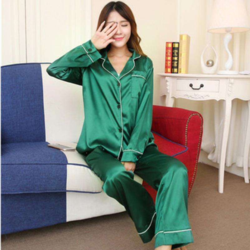 Details about  /Couple Pajama Men Women Satin Silk Pants Summer Long Sleeve Home Suit Sleepwear
