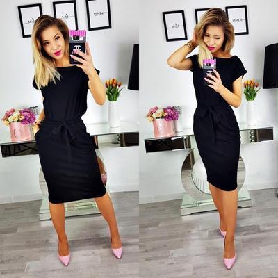 L-4XL Meaneor Women Plus Size 3//4 Sleeve V-Neck Business Bodycon Pencil Dress