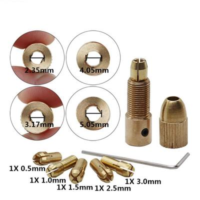 3.175mm 7pcs Small 0.5mm 3mm Brass Collet Electric Drill Bit Chuck Wrench Tool