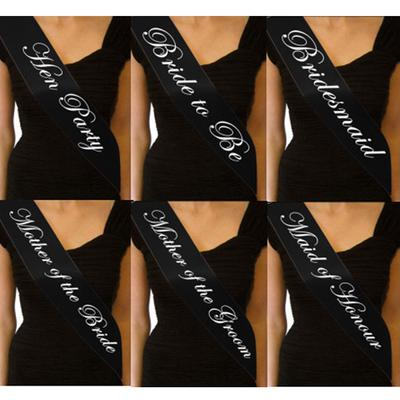 Black Hen Party Sash Wedding Bride to Be Bridesmaid Sashes Costume Accessory FO