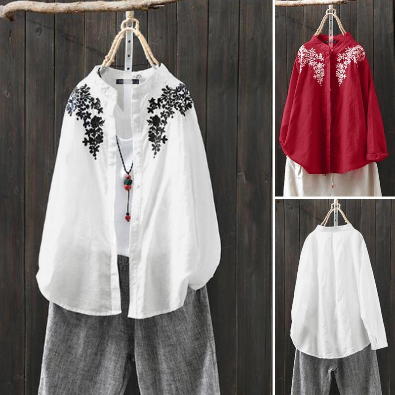 ZANZEA Womens Long Sleeve Frill Shirt Tops Casual Stand Up Collar Plain Blouses