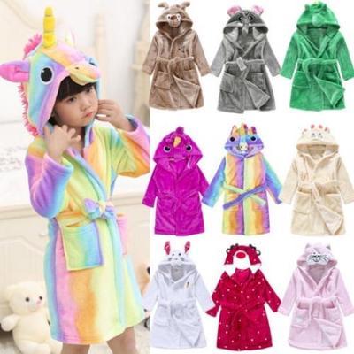 Kids Towelling Robe Hooded Bathrobe Boys Girls Nightgown Flannel Sleepwear Loungewear
