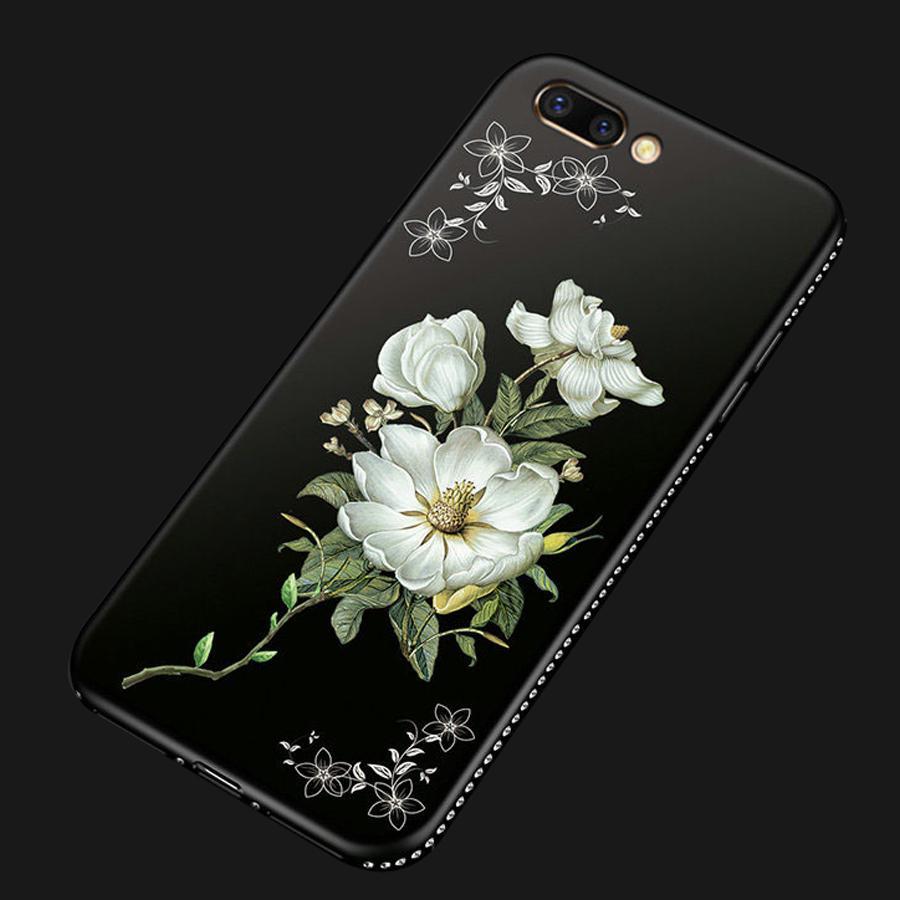 Тонкий мягкий TPU Корпус Цветок Цветочный узор Роскошный Алмазный Назад Обложка для IPhone Huawei Xiaomi Oppo фото