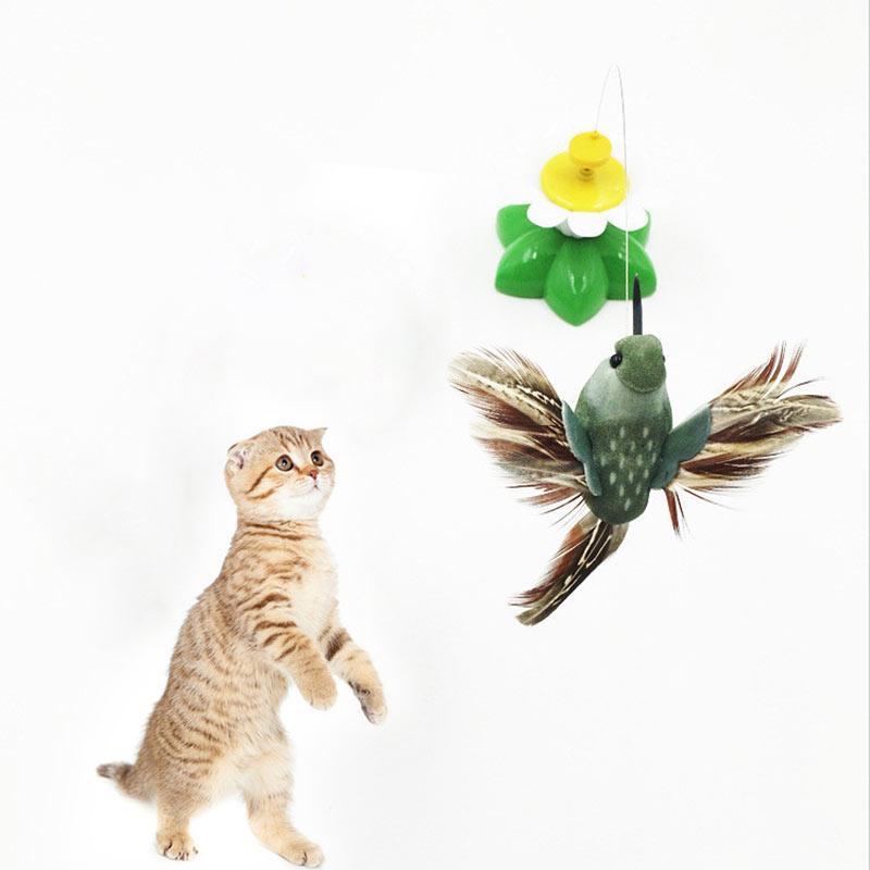 Электрический вращающийся бабочка птица стержень проволока Cat тизер играть игрушка для ПЭТ Cat котенок Pet игрушка фото