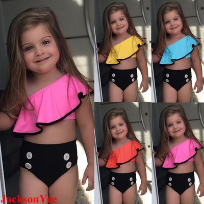 Summer Kids Baby Girls Swimsuit Bowknot Solid Straps Bathing Yellow Bikini Set