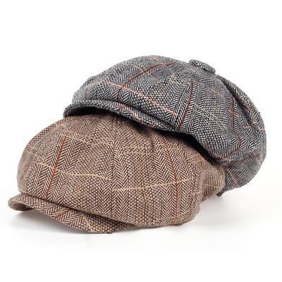 Men Octagonal Cap Newsboy Beret Hat Autumn And Winter For Men's Jason Statham Male Models Flat Caps
