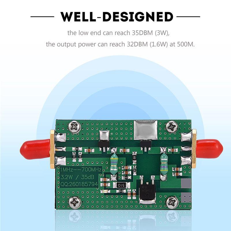 1MHz-700MHz 3.2W RF Power Amplifier Module HF VHF UHF FM Gain 35dB For Ham Radio