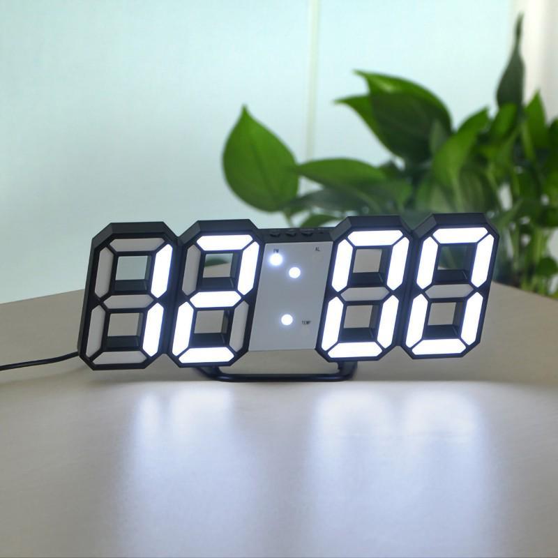 Modern digital 3d white led wall clock alarm clock reviews