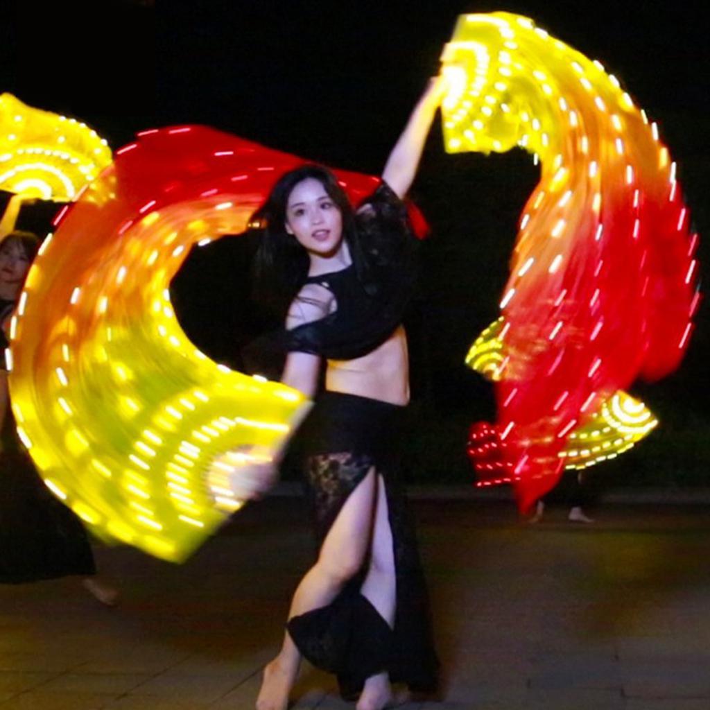 Rainbow LED Belly Dance Hand Fans Light up Folding Veils Dancing Costume