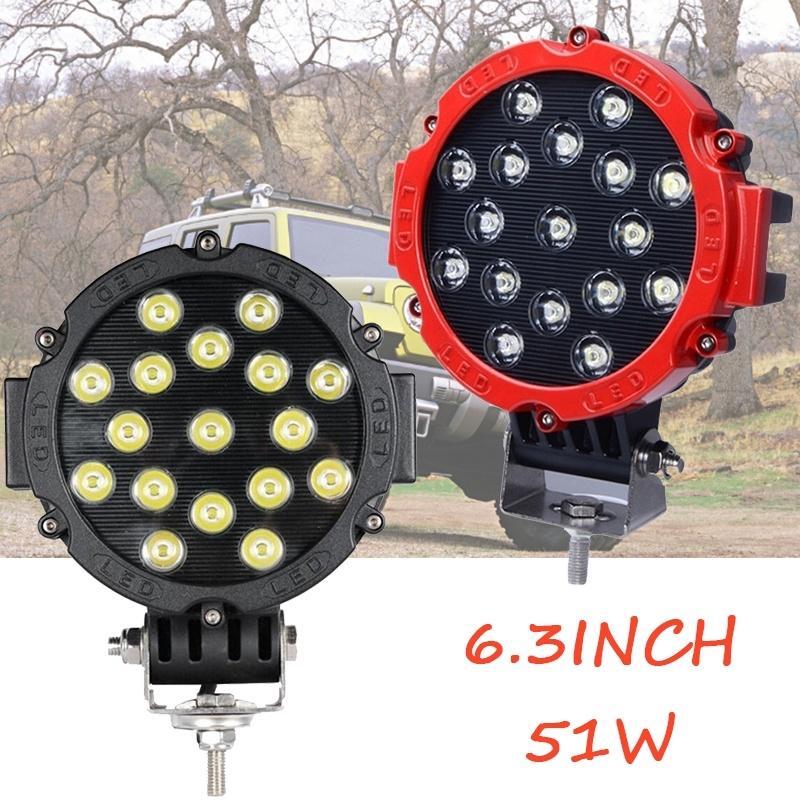 LED Light Bar 2 Pcs 7 Inch 51W Black Round Flood Light Pod 5100LM Off Road Fog Driving Work Light Waterproof IP 67 for SUV ATV Truck Boat