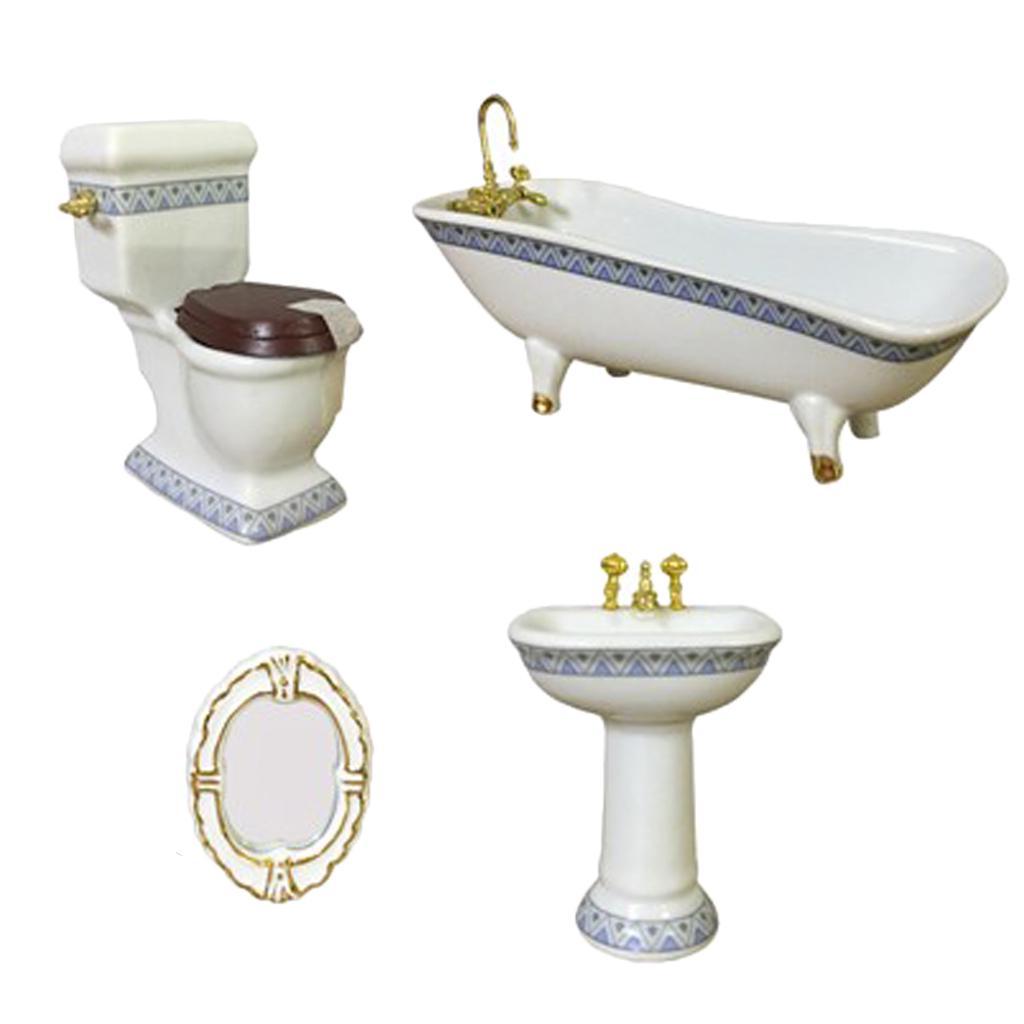 1//12 Miniature Bath Shower Head with Hose Bathroom Furniture Accessory