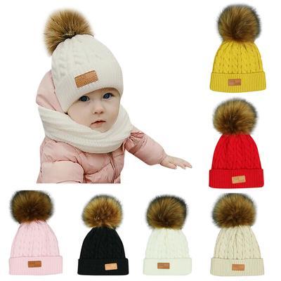 Giro da criança crianças menina menino bebê infantil inverno quente crochê  tricô chapéu Beanie Cap ee7f9afd688