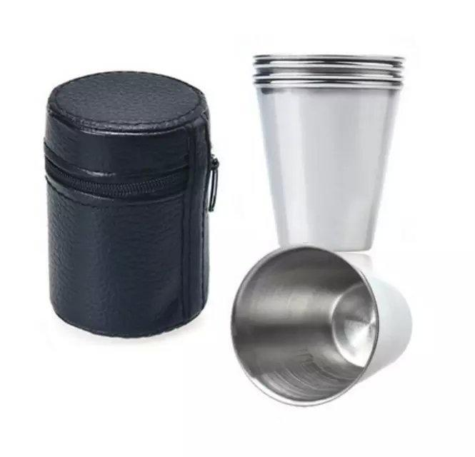 Campcookingsupplies Camping Cup Mug Drinking Coffee Tea Beer With Case Ideal For Camping Holiday Picnic 1 Set Of 4 Stainless Steel Cover Mug Camping & Hiking