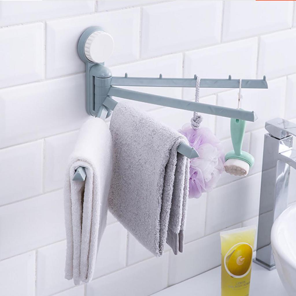 180 Degree Swivel 4-Bar Towel Holder Bathroom Kitchen Towel Rack Rail Hange