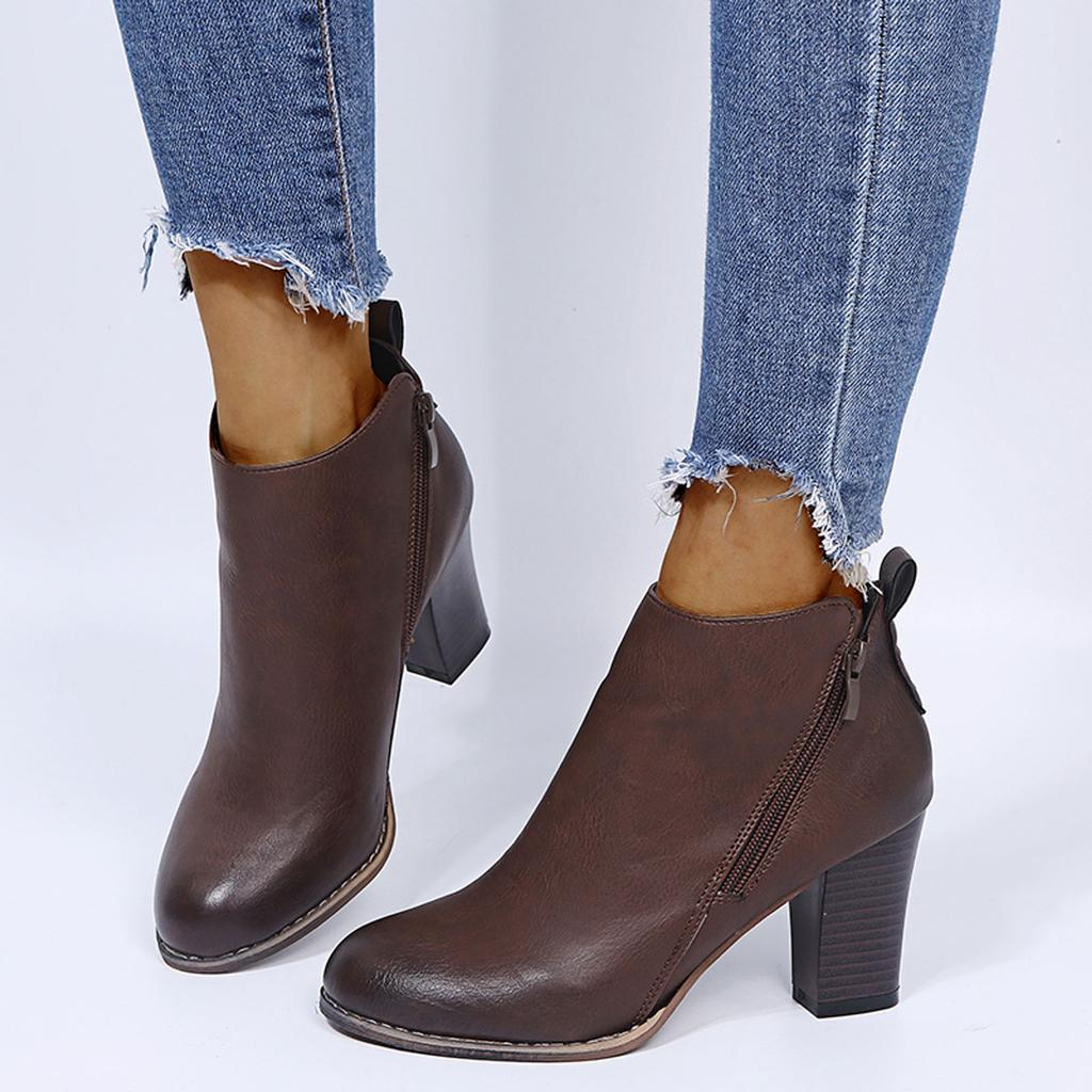 Details about  /Ladies Side Zip Rivet Buckle Strap 10cm High Heel Ankle Boots Pointy Toe Shoes