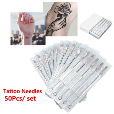 50Pcs/set Curved Round Magnum Disposable Sterile Tattoo Needles 5/7/9/