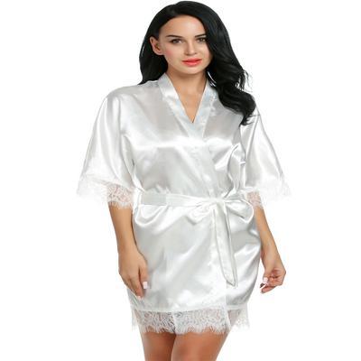 e409fa746e9a Ailov Women Loose Lace-trimmed Kimono Style Short Satin Robe-buy at ...