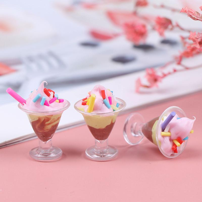 1//12 Dollhouse Miniature Food Mini Resin Ice Cream Cups Drinks Model SU