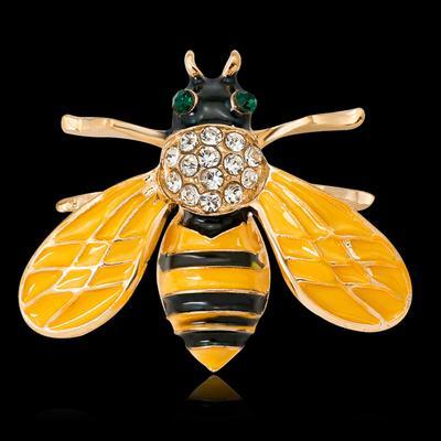 Encanto De Cristal Estrás Abeja Insectos Animales Esmalte Broche Pin Para Mujer Joyas