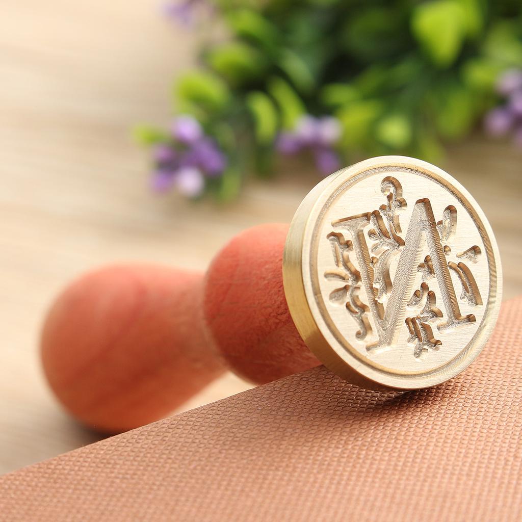 Decor Wedding Brass Head Wax Seal Stamp A-Z Alphabet Initial Flower 26 Letters