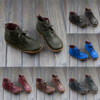 [Coconut Tree] Women Sneakers Casual Retro Leather Lace-up Lightweight Soft Bottom Flat Shoes