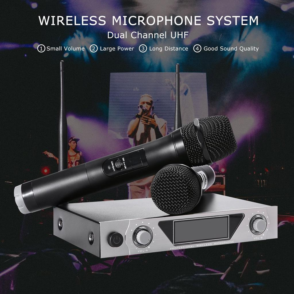 NASUM UHF Dual Channel Professional Handheld Wireless Microphone System with Dua