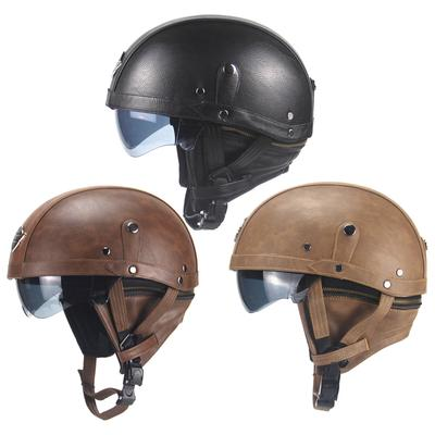 Open Faced Motorcycle shell Helmet Four Seasons Breathable Comfortable Harley Custom Cafe Racer street bike Half Open Helmet,Brown,M