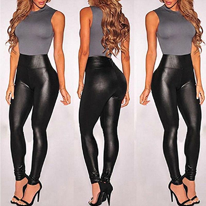 Womens Ladies High Waist Pu Leggings Wet Look Stretch Pencil Trousers Pants