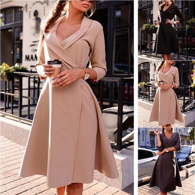 32977ee2ca6 2019 осень зима мода платье три четверти рукав V шеи партии элегантные  платья Мантия SJ484L