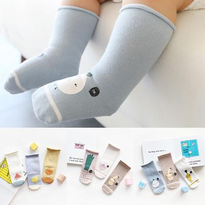 3 Pair Infant Toddler Baby Boy Girl Cartoon Animals Anti-Slip Knitted Warm Socks