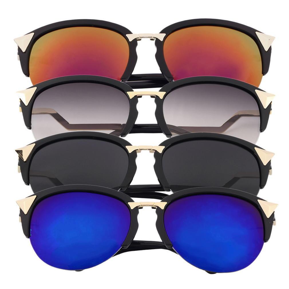 KAIYA marca triángulo remache medio marco semi-sin montura gafas de ...