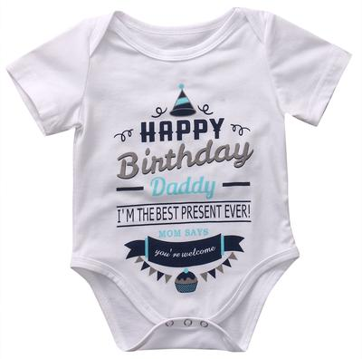 Baby Infant Boy Girl Short Sleeve Letter Print Romper Jumpsuit Birthday Party Summer Clothes