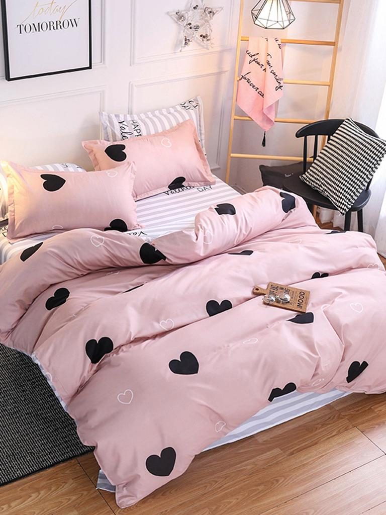 3732525445 SHEIN Heart Print Sheet Set-buy at a low prices on Joom e-commerce ...