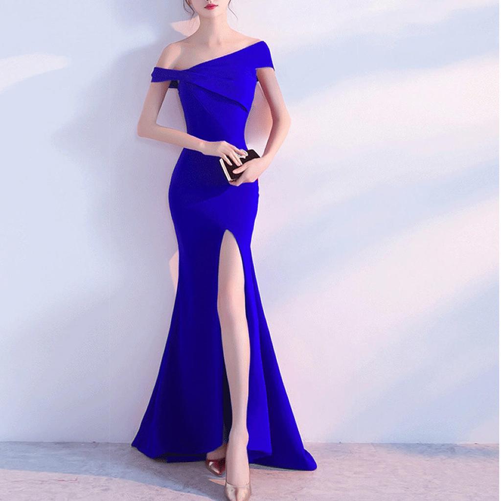 Las mujeres elegantes de moda Color sólido abertura lateral Maxi ...