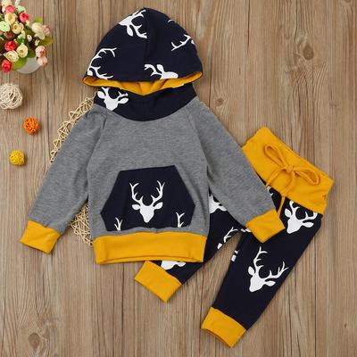 Bébé Enfant Garçon Fille Cartoon Combi Sweat Tops Pant Outfit Vêtements