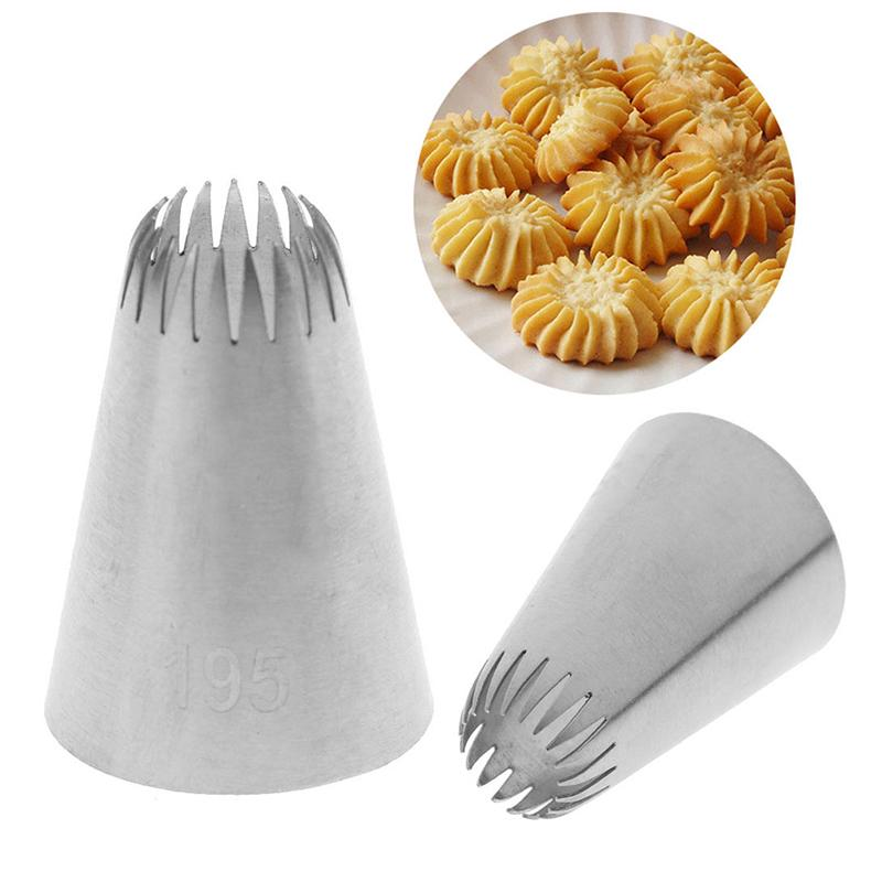 #195 Cake Head Metal Icing Piping Nozzles Stainless Steel Cake Cream Decor TRSDE