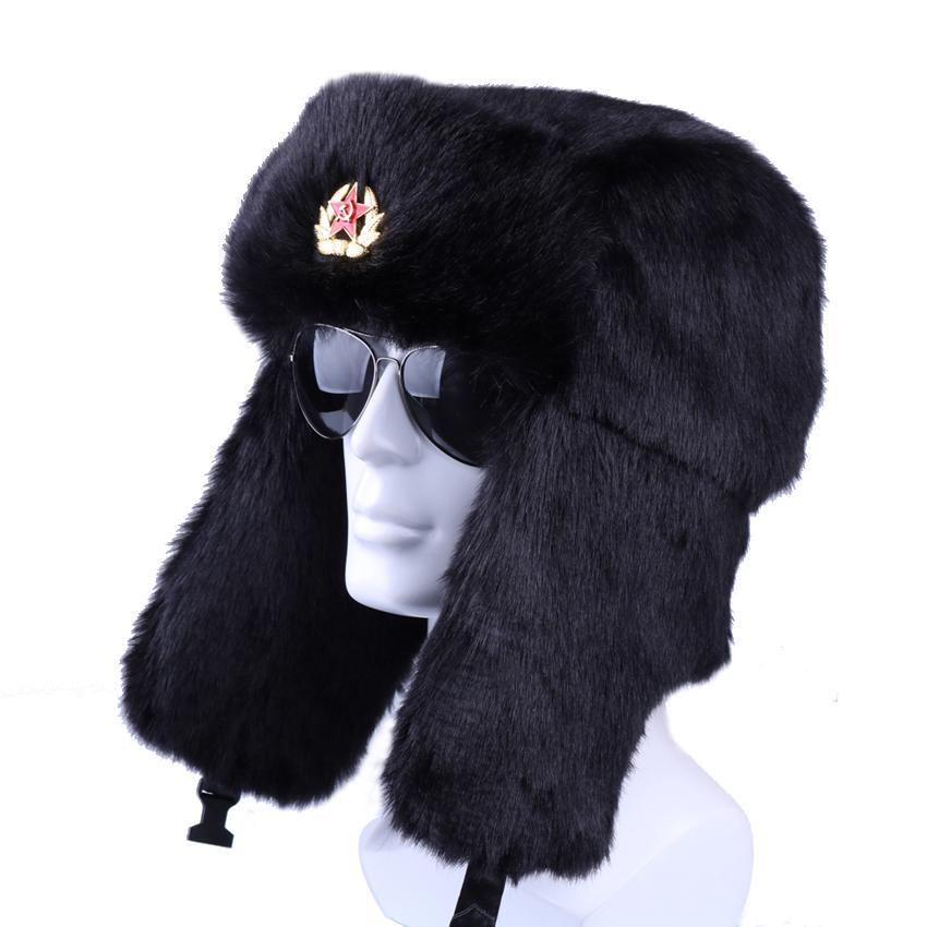 b4a3ebfb666e7 Winter Russian Ushanka Bomber Hat Soviet Army Badge Military Hats ...