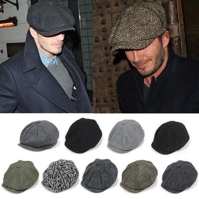 ddd011db51d Men Wool Gatsby Eight Panel Newsboy Caps Warm Driving Flat Hat Cabbie Golf  Beret