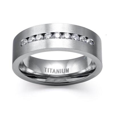 Men Women Simple Stainless Steel Carbide Tungsten Crystal Ring Engagement  Gift Wedding Band
