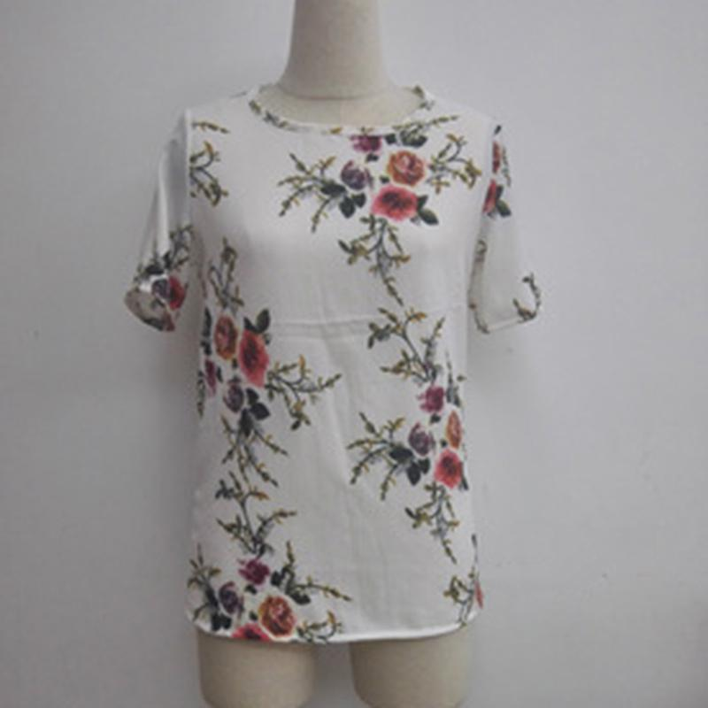 Summer Womens Casual Tops Blouse Short Sleeve Crew Neck Floral T-Shirt Ladies