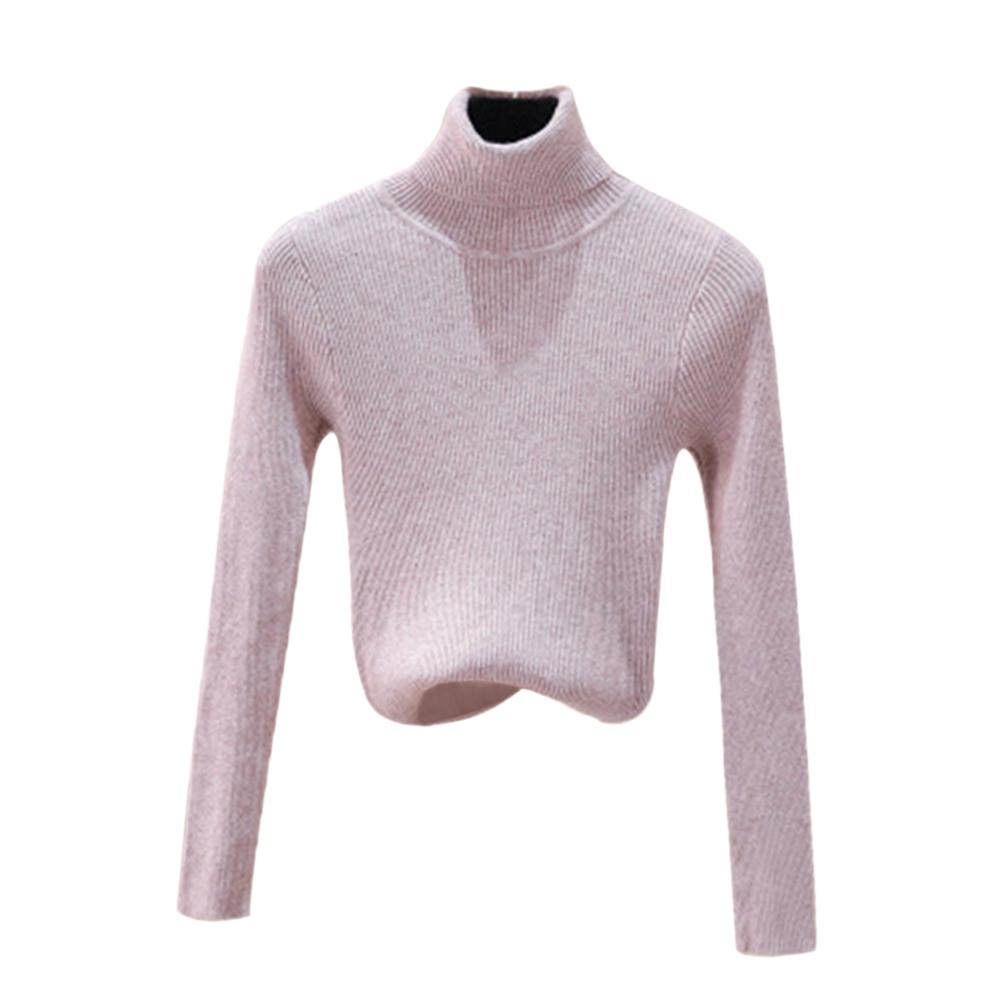 Women Winter Knitted Turtleneck Sweater Keep Warm Soft Polo-Neck Jumper Fashion