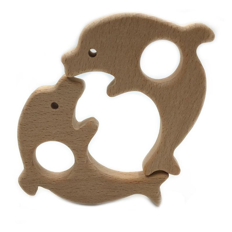 Wooden Dolphin Baby Teether Pacifier Teething Nursing Chew Pendant Necklace CB